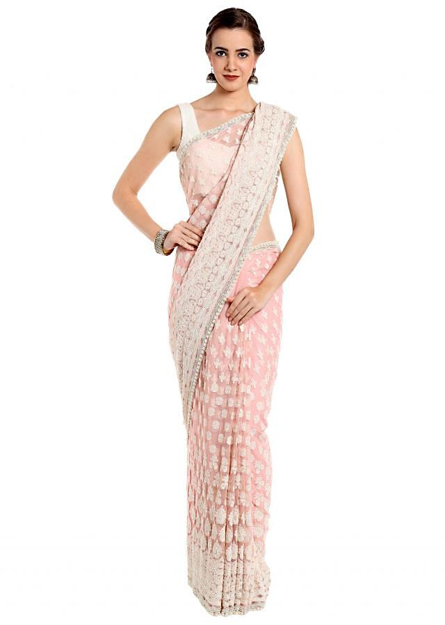 Baby pink saree in thread and pearl embroidery only on Kalki