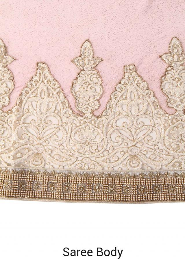 Baby pink saree with embellished net border only on Kalki