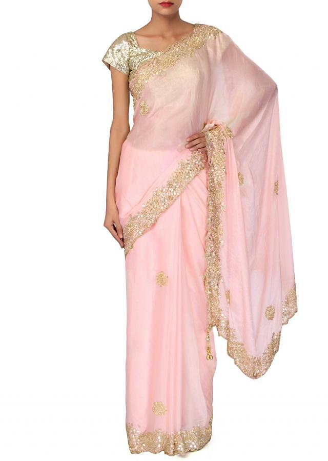 Baby pink saree with gotta patch embroidery only on Kalki