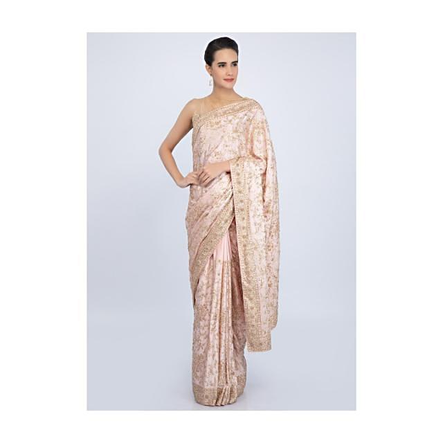 Baby pink satin saree in floral embroidered jaal work only on Kalki