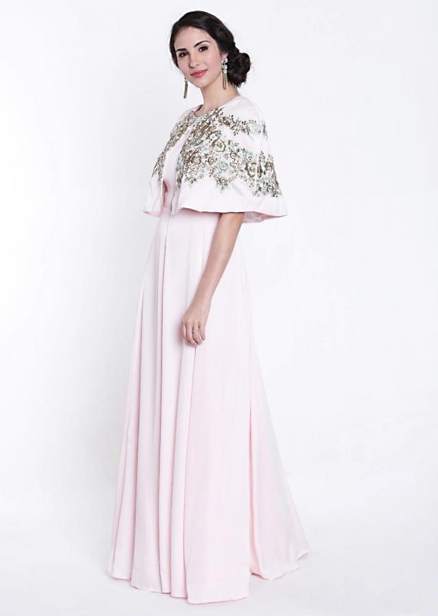 Baby Pink Silk Dress and Cape Featuring Zardosi Work Only on Kalki