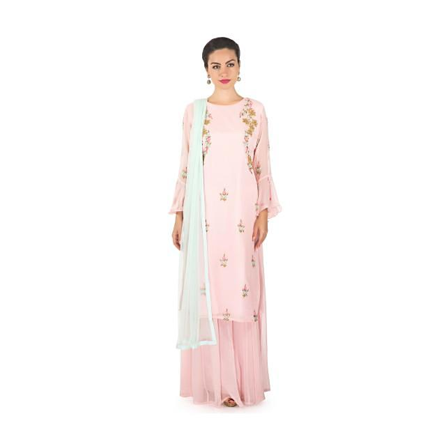 Baby pink straight palazzo suit adorn in cut dana and sequin embroidery only on Kalki