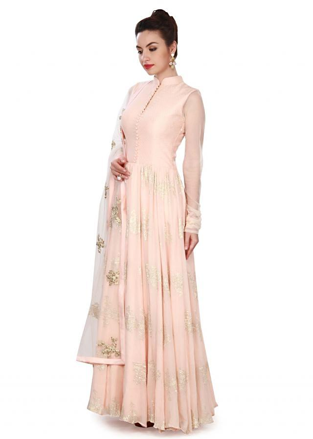 Baby pink suit adorn in embroidered dupatta only on Kalki