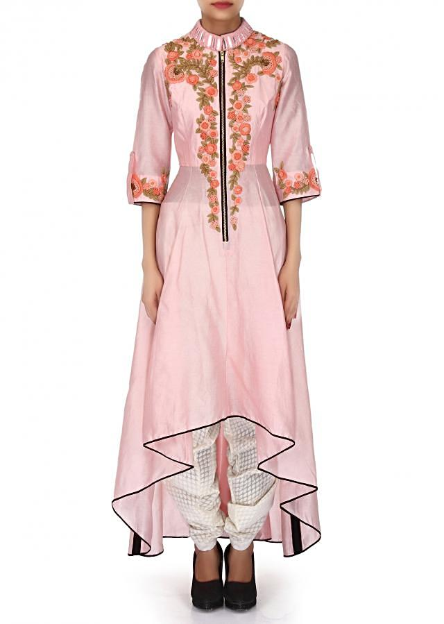 Baby Pink suit adorn in thread and mirror embroidery only on Kalki