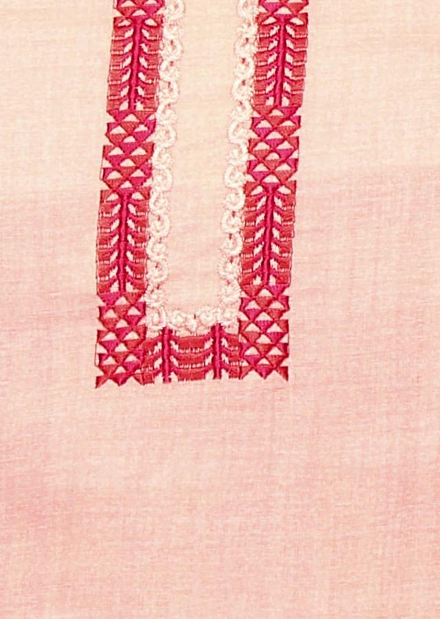 Baby pink unstitched suit with printed dupatta only on Kalki