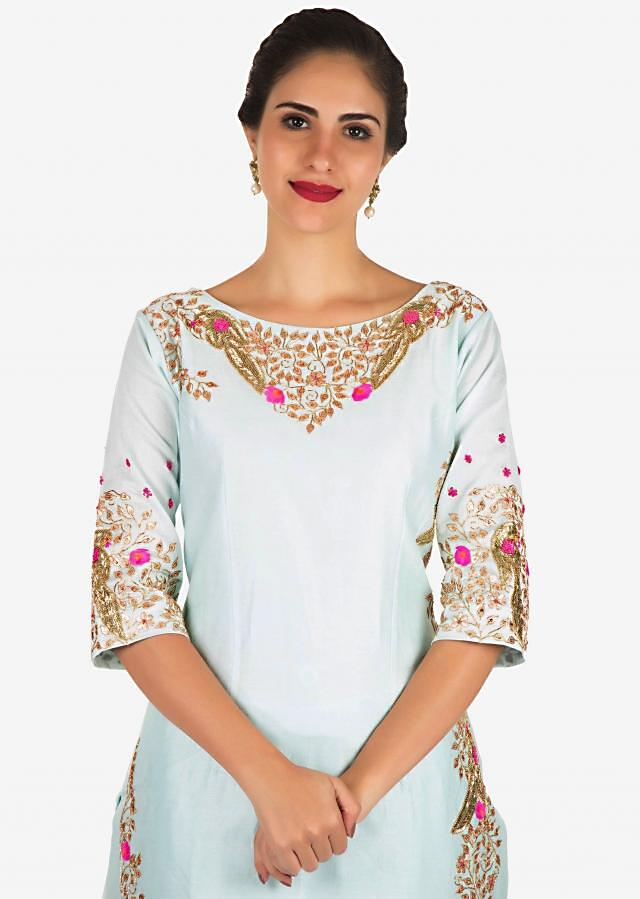 Baby blue palazzo suit embellished in gotta patti and cut dana embroidery work only on Kalki