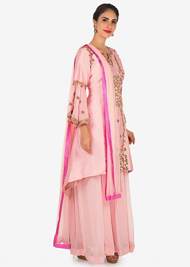 Baby pink A line suit in cotton silk with cut dana and resham embroidery only on Kalki