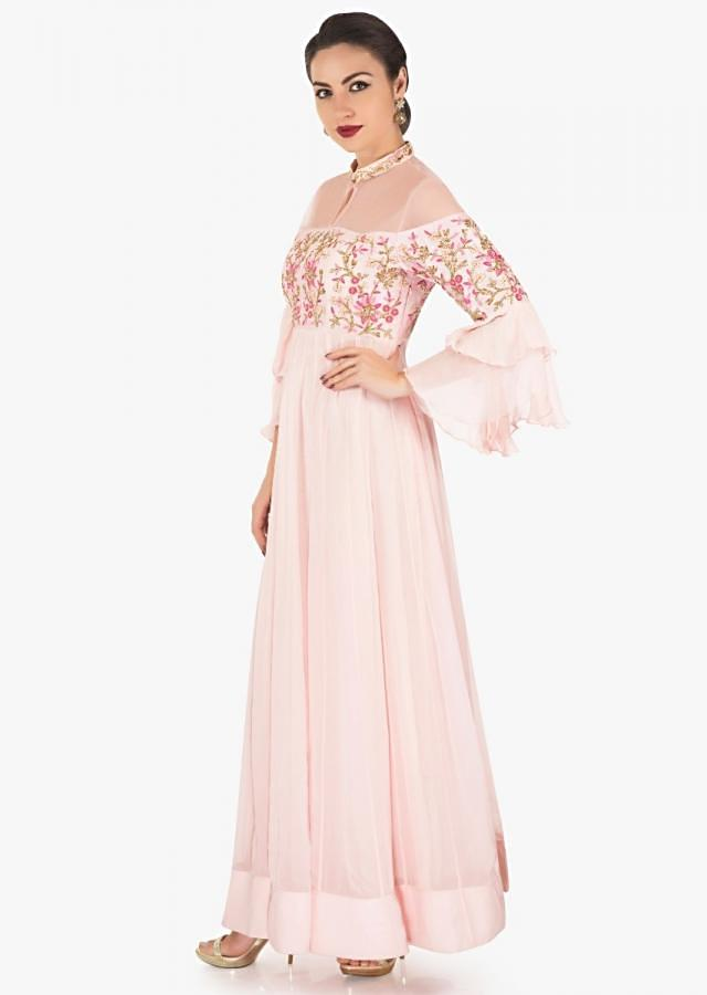 Baby pink anarkali gown in georgette with resham and cut dana embroidered bodice only on Kalki