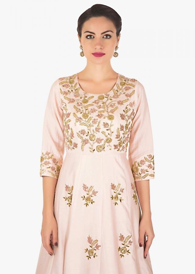 Baby pink anarkali suit adorn in french knot and zardosi work only on Kalki