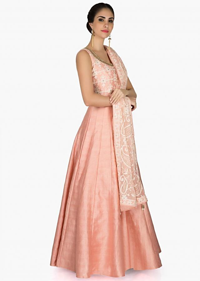 Baby pink anarkali suit with lucknowi thread embroidered bodice only on Kalki