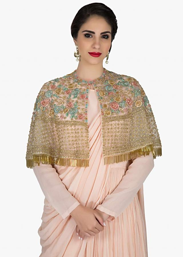 Baby pink anarkali suit with sequin embroidered cape only on Kalki