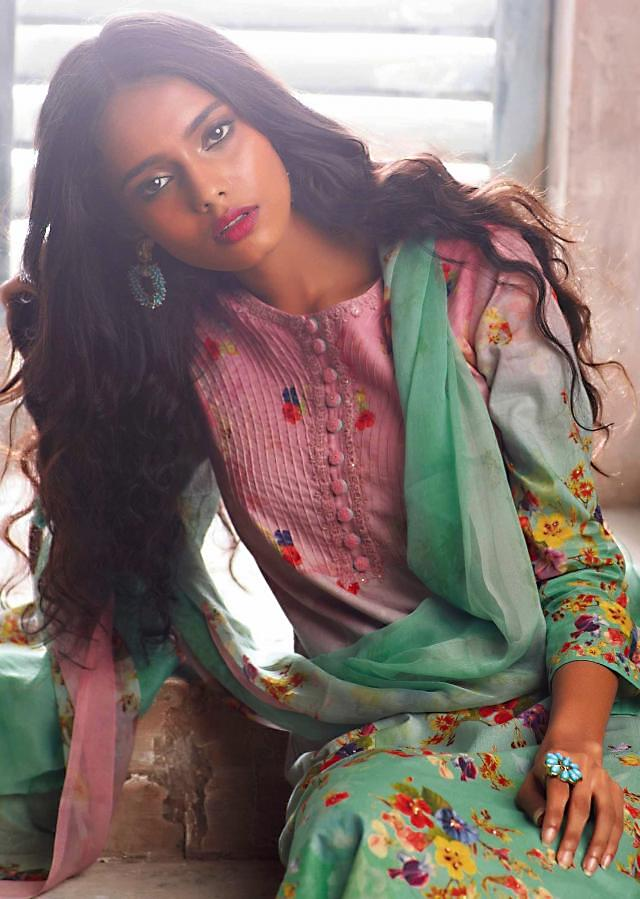Baby pink and sea green unstitched printed suit with ready neckline