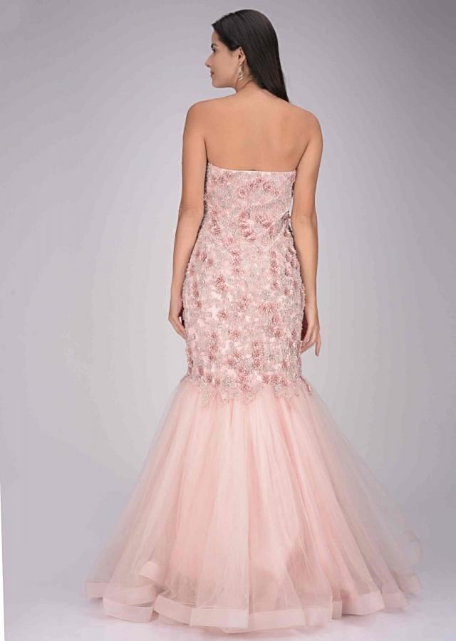 Baby pink embroidered net gown in mermaid cut only on Kalki