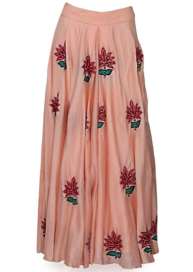 Baby pink lehenga in resham embroidered butti with attached dupatta only on Kalki