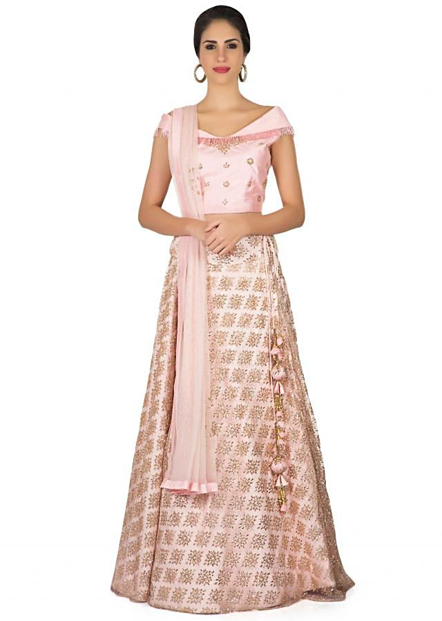 Baby pink lehenga in shimmer net with off shoulder louse only on Kalki