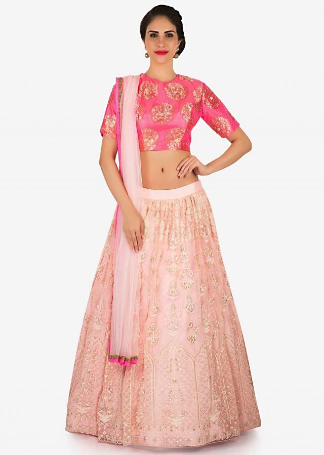 Baby pink lehenga with dark pink brocade blouse in thread and moti work only on Kalki