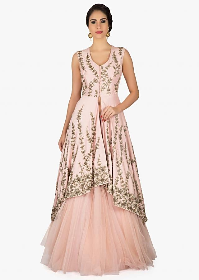 Baby pink lehenga with embroidered front short and back long jacket in zardosi only on Kalki