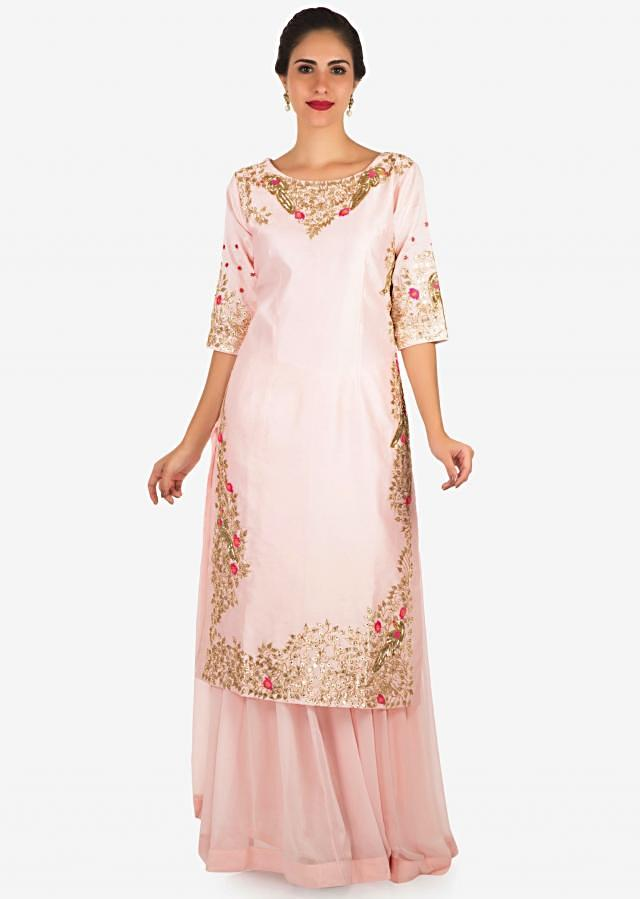 Baby Pink Palazzo Suit Embellished In Gotta Patti And Cut Dana Embroidery Work Online - Kalki Fashion