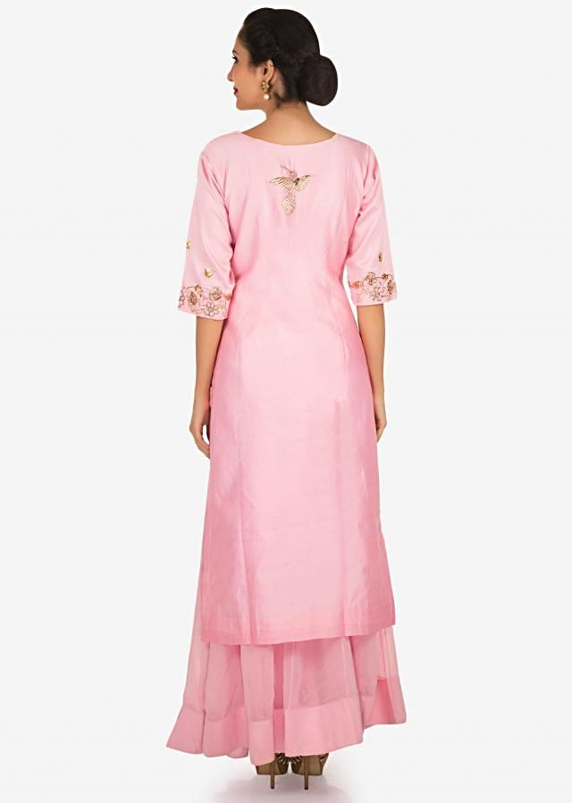Baby pink palazzo suit embellished in zardosi and french knot embroidery work only on Kalki