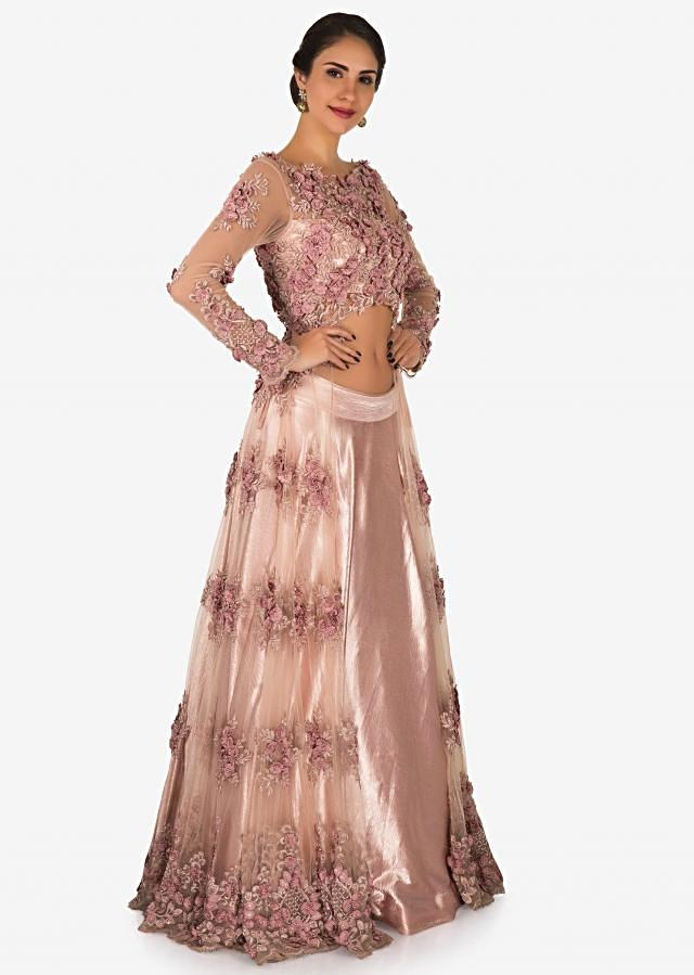 Baby Pink Skirt In Satin With Moti And Resham Embroidered Net Jacket Online - Kalki Fashion