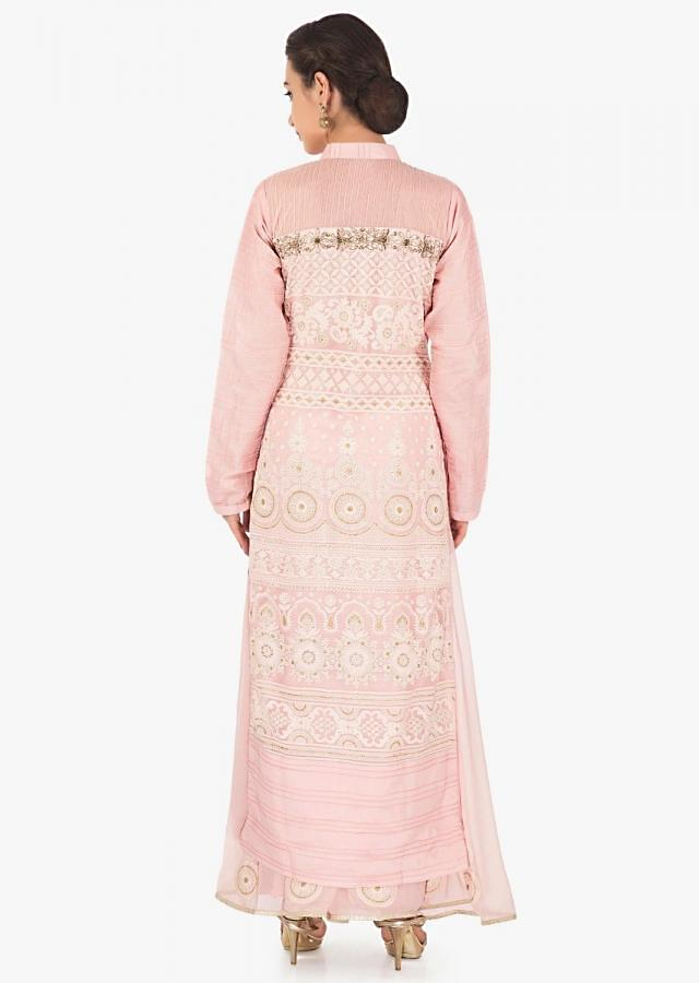 Baby pink straight suit in floral and paisley motif with palazzo pant only on Kalki