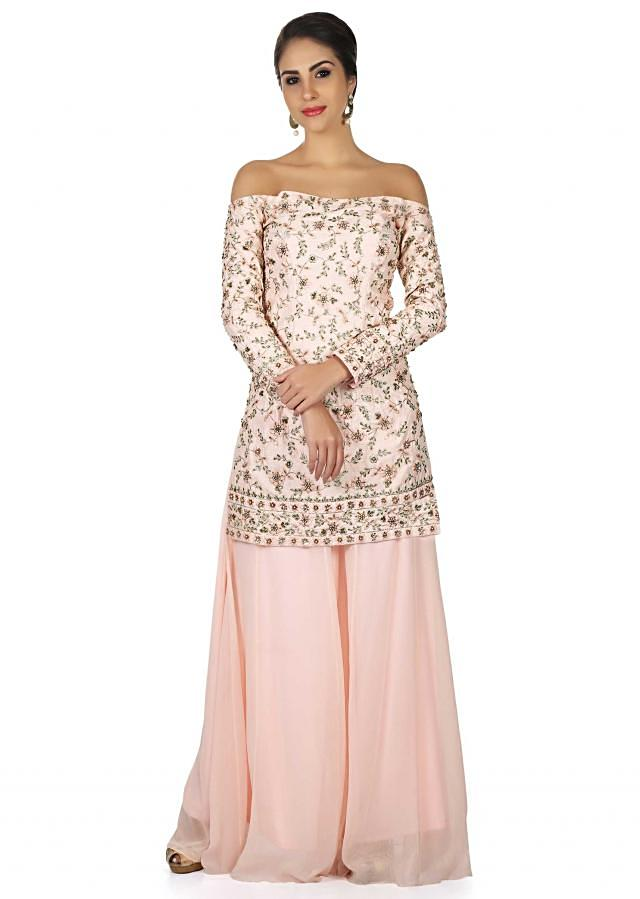 Baby pink top off shoulder embroidered top with palazzo pant only on Kalki