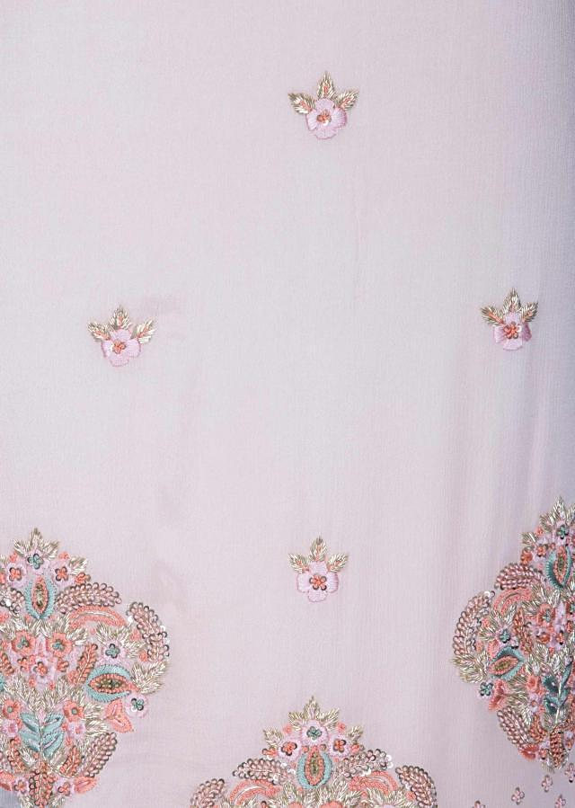 Baby pink unstitched suit in french knot embroidery only on Kalki