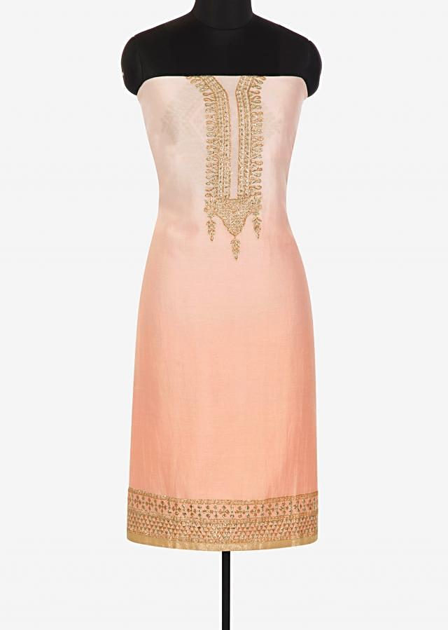 Baby pink unstitched suit in zari embroidered ready neckline only on Kalki
