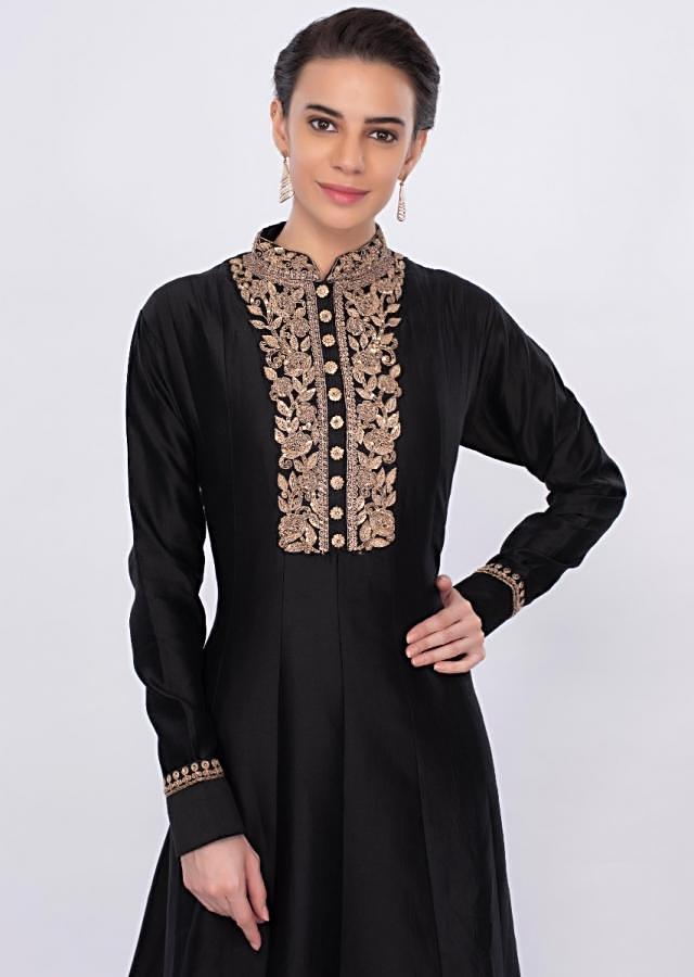 Black Floral Embroidered Anarkali Dress Online - Kalki Fashion