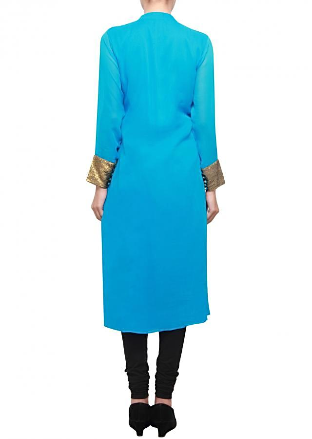 Ball blue georgette kurti with sequence on bodice only on kalki