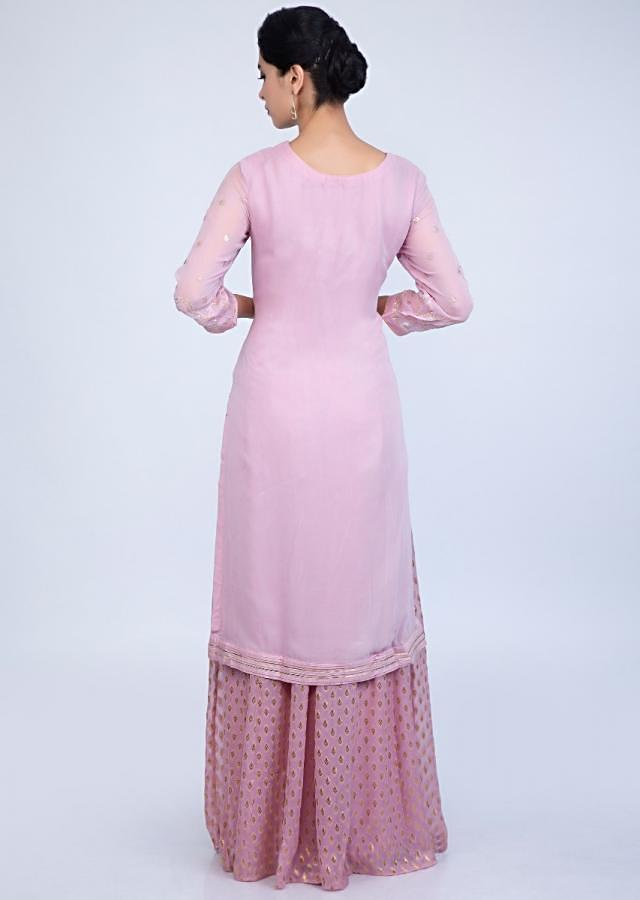 Ballet Pink Suit In Embroidered Georgette With Weaved Palazzo And Chiffon Dupatta Online - Kalki Fashion