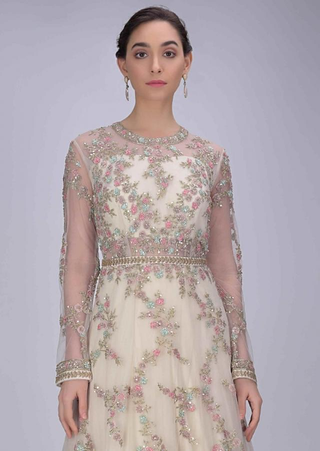Banana Yellow Gown In Embellished Net With Floral Pattern All Over Online - Kalki Fashion
