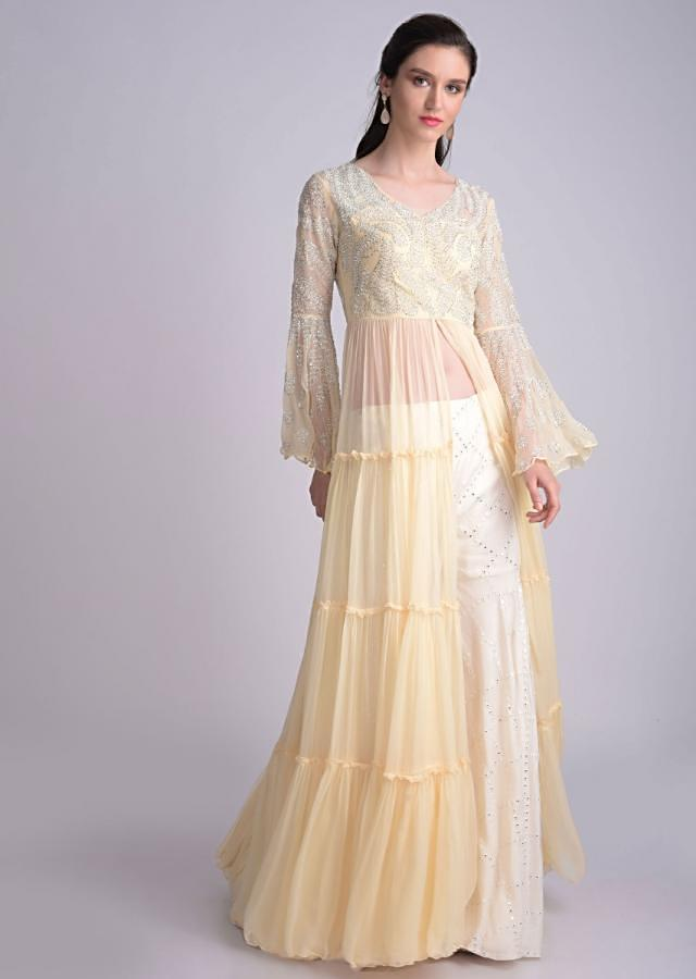Banana Yellow Front Slit Suit In Chiffon With Tiers And Embellished Bodice Online - Kalki Fashion