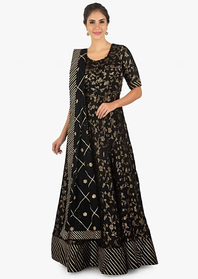 Banarasi brocade anarkali highlighted with gotta lace at the hemline only on Kalki