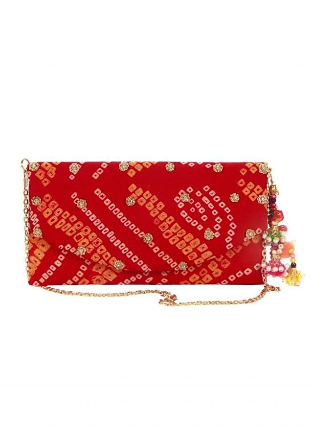 Bandhani clutch in red with fancy tassel only on Kalki