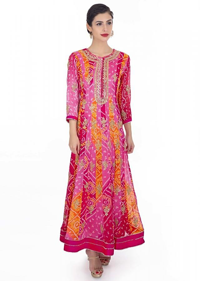 Bandhani Anarkali Suit In Georgette With Shades Of Pink And Orange Paired With Rani Pink Chiffon Dupatta Online - Kalki Fashion