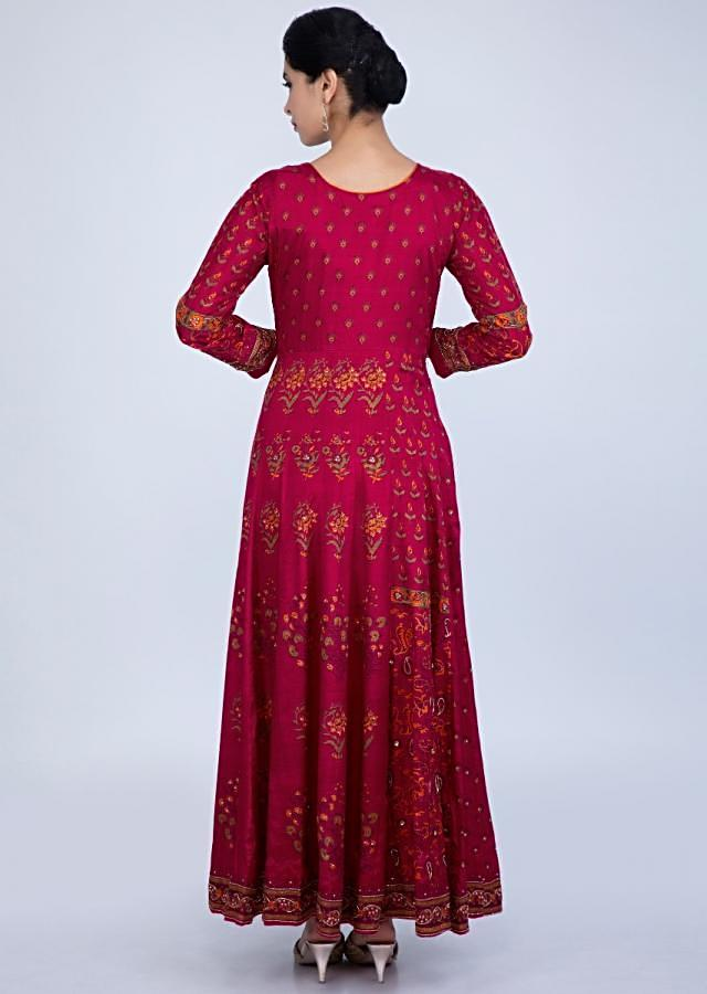 Barn red printed anarkali dress with side panel embroidered placket and neck only on Kalki