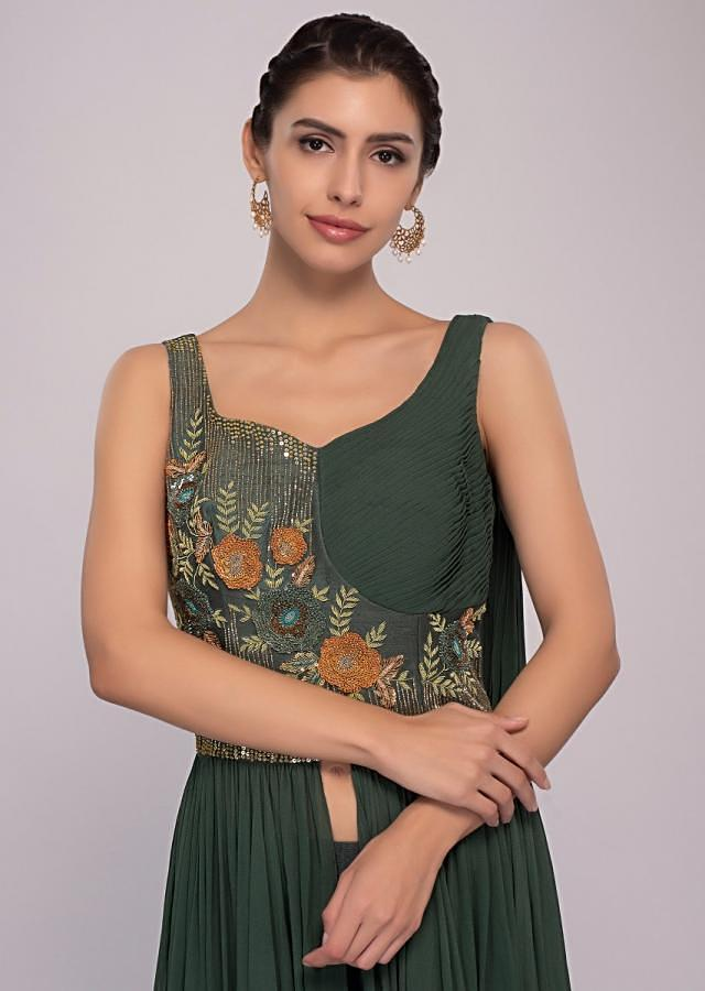 Basil Green Skirt In Net Paired With Long Peach Georgette Top Online - Kalki Fashion