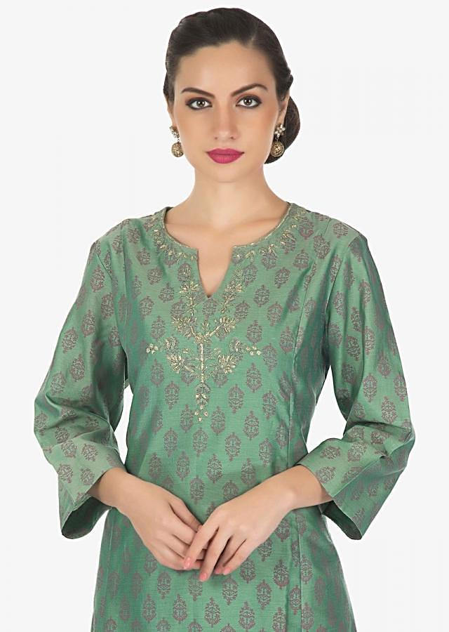 Basil green A line printed kurti with embroidered neckline only on Kalki