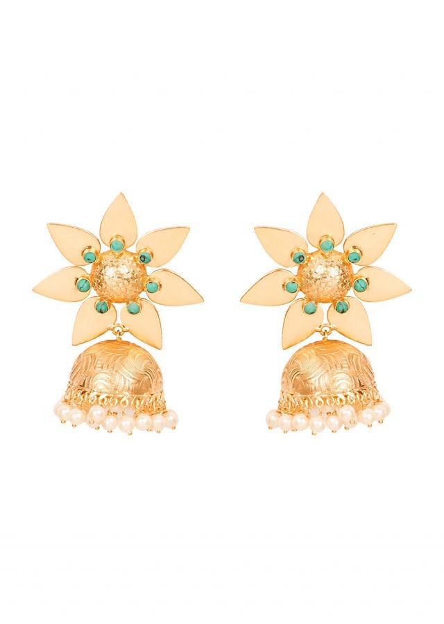 Beaten Gold Floral Jhumkis - Turquoise