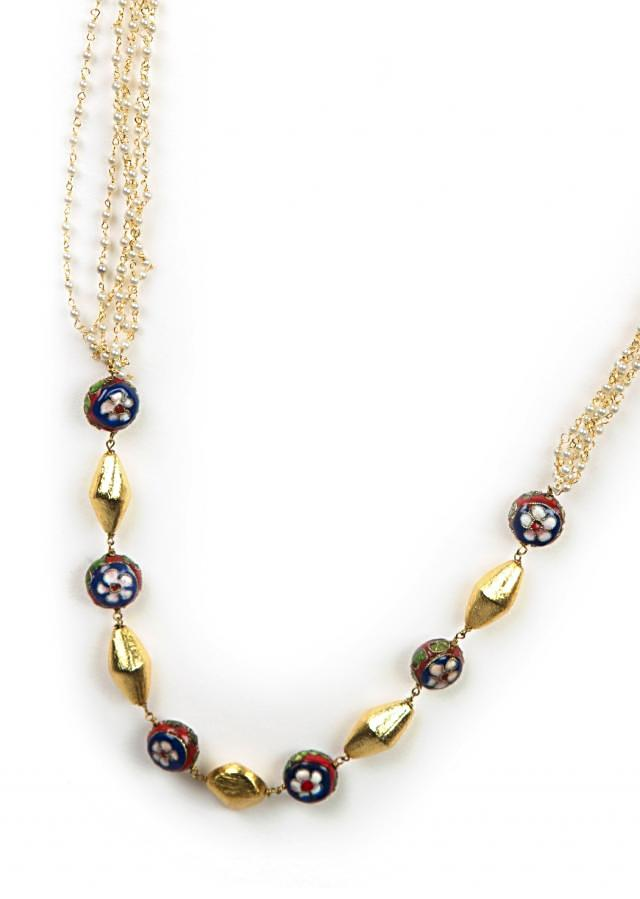 Beautiful floral printed multi color beaded necklace only on Kalki