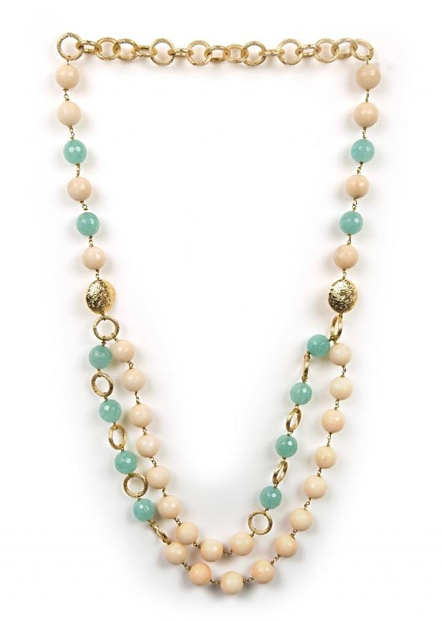 Beautiful white and skyblue beaded neckpiece only on Kalki