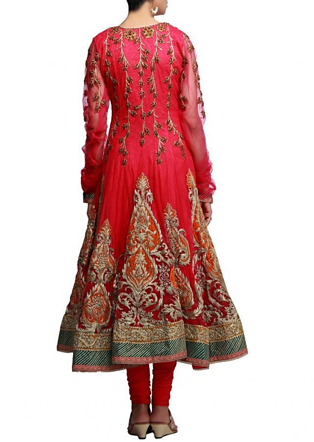 Beautifully crafted anarkali suit in pink with zari embroidery