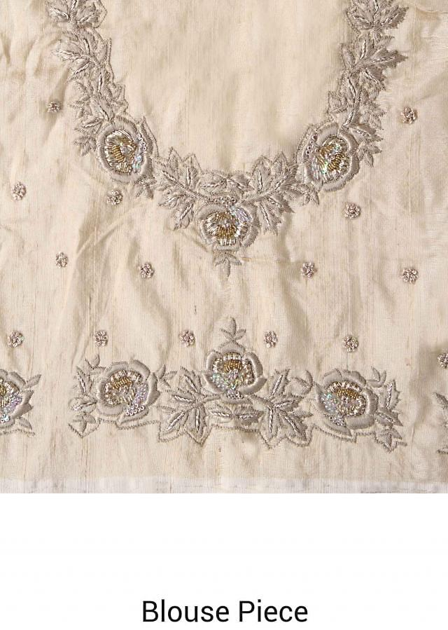 Begie saree embellished in resham and zardosi embroidery only on Kalki