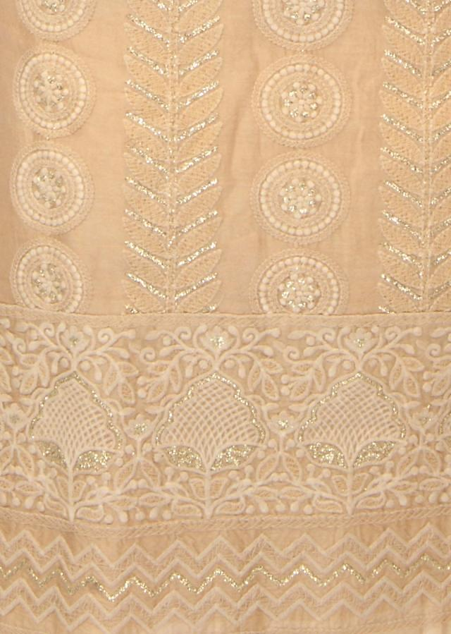 Begie unstitched suit in thread embroidery only on Kalki