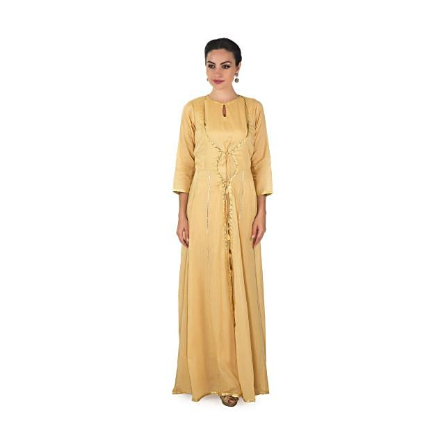 Beige A line dress with attach jacket in gotta lace only on Kalki