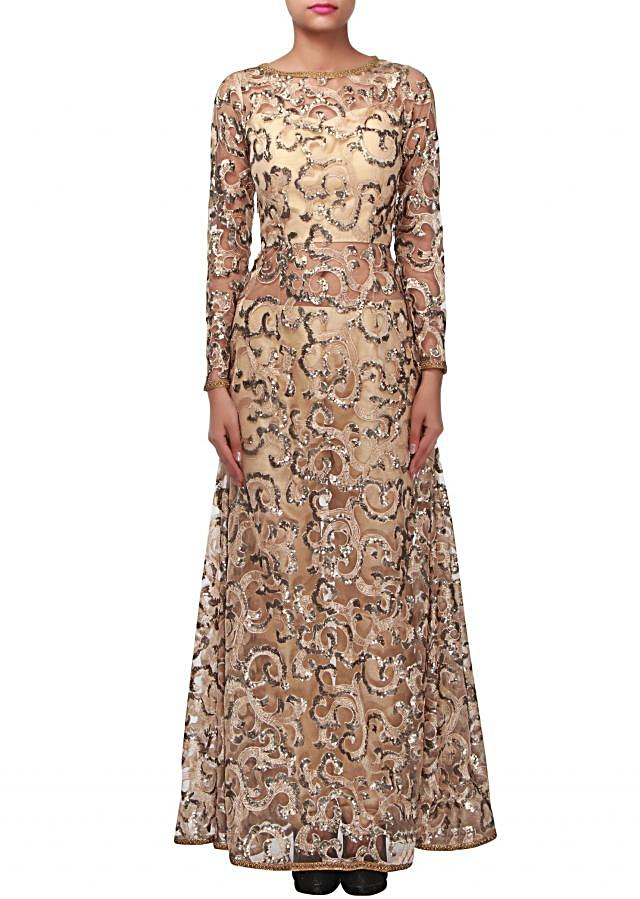 Beige A line suit adorn in sequin embroidery only on Kalki