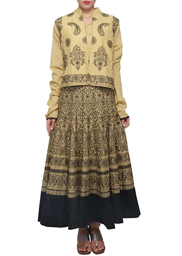 Beige anarkali outfit featuring in thread embroidery only on Kalki