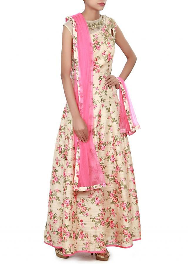 Beige anarkali suit adorn in floral print and zari only on Kalki