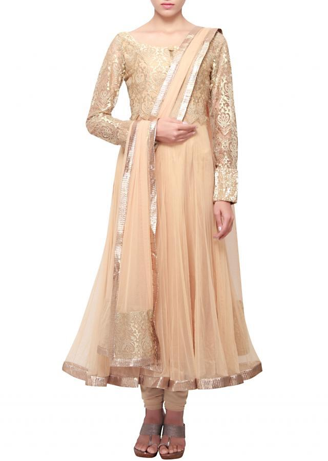Beige anarkali suit adorn in gold lace embroidery only on Kalki